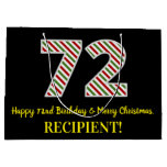 [ Thumbnail: Happy 72nd Birthday & Merry Christmas, Custom Name Gift Bag ]