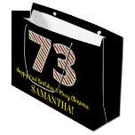 [ Thumbnail: Happy 73rd Birthday & Merry Christmas, Custom Name Gift Bag ]