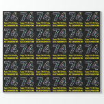 [ Thumbnail: Happy 74th Birthday, Fun Colorful Stars Pattern 74 Wrapping Paper ]