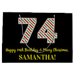 [ Thumbnail: Happy 74th Birthday & Merry Christmas, Custom Name Gift Bag ]