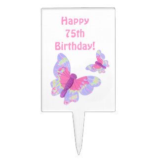 Happy 75th  Birthday Cake Pick with butterflies