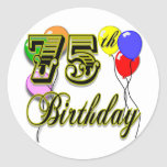 Happy 75th Birthday Celebration Classic Round Sticker