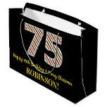 [ Thumbnail: Happy 75th Birthday & Merry Christmas, Custom Name Gift Bag ]