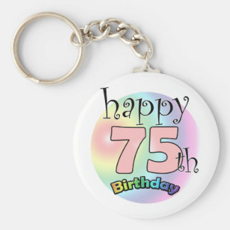 Happy 75th Birthday (pink) Keychain