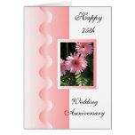 Happy 75th Wedding Anniversary Card Pink Gerbera