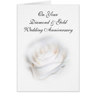 Happy 75th Wedding Anniversary Card White Rose