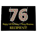 [ Thumbnail: Happy 76th Birthday & Merry Christmas, Custom Name Gift Bag ]