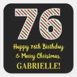 [ Thumbnail: Happy 76th Birthday & Merry Christmas, Custom Name Sticker ]