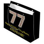 [ Thumbnail: Happy 77th Birthday & Merry Christmas, Custom Name Gift Bag ]