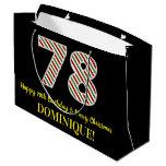 [ Thumbnail: Happy 78th Birthday & Merry Christmas, Custom Name Gift Bag ]