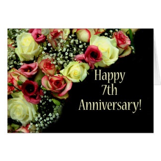 Happy 7th Anniversary roses Card