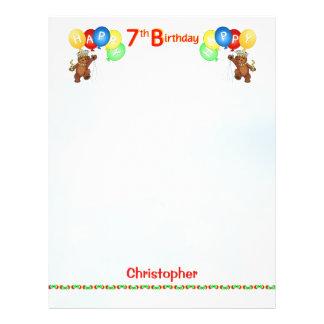 "Happy 7th Birthday Bear Scrapbook Paper 2 8.5"" X 11"" Flyer"