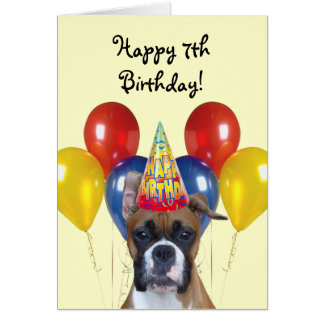 Happy 7th Birthday boxer greeting card