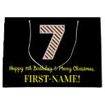 [ Thumbnail: Happy 7th Birthday & Merry Christmas, Custom Name Gift Bag ]