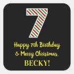 [ Thumbnail: Happy 7th Birthday & Merry Christmas, Custom Name Sticker ]