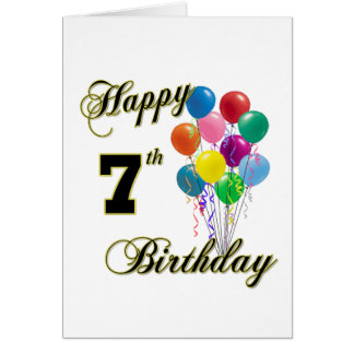 Happy 7th Birthday Post Cards and Birthday Cards
