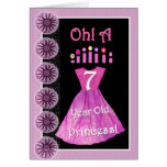 Happy 7th Birthday Princess - Pink Dress & Candles Cards