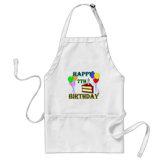Happy 7th Birthday with Cake, Balloons and Candle Aprons