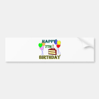 Happy 7th Birthday with Cake, Balloons and Candle Bumper Sticker