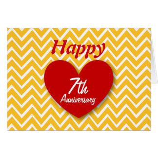 Hy 7th Wedding Anniversary Gold Chevrons B07 Card