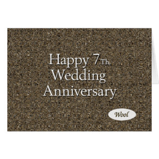 Happy 7th. Wedding Anniversary Wool Card