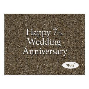 Hy 7th Wedding Anniversary Wool Postcard