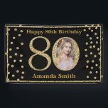 """Happy 80th Birthday Banner Black and Gold Photo<br><div class=""""desc"""">Happy 80th Birthday Banner Black and Gold Glitter Confetti with custom photo. Printable Digital. For further customization,  please click the """"Customize it"""" button and use our design tool to modify this template.</div>"""