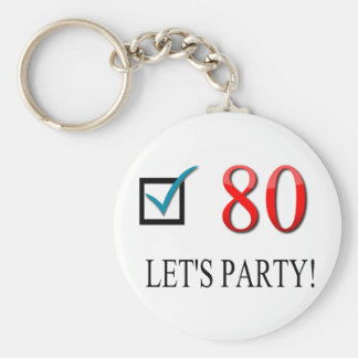 Happy 80th Birthday Basic Round Button Keychain