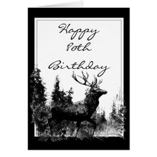 Happy 80th Birthday Custom Vintage Stag, Deer Card