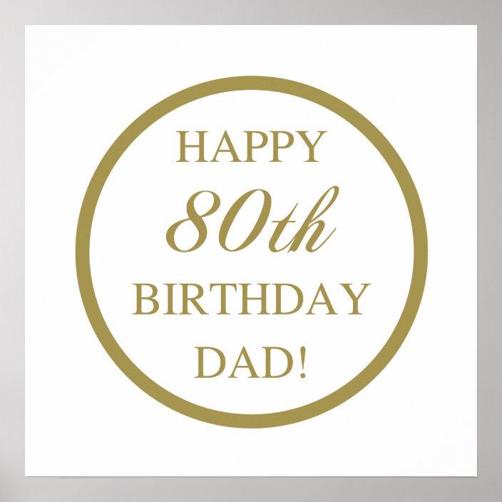 Happy 80th Birthday Dad Poster   Zazzle.com