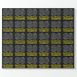 [ Thumbnail: Happy 80th Birthday, Fun Colorful Stars Pattern 80 Wrapping Paper ]