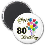 Happy 80th Birthday Gifts and Birthday Apparel 2 Inch Round Magnet