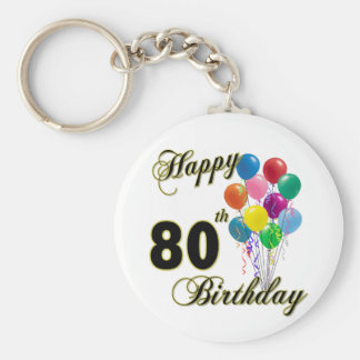 Happy 80th Birthday Gifts and Birthday Apparel Basic Round Button Keychain