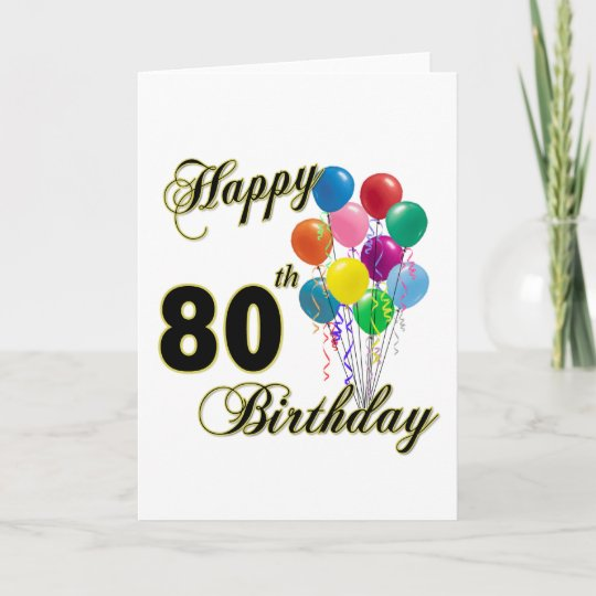 Happy 80th Birthday Gifts And Apparel Card