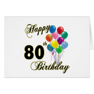 Happy 80th Birthday Gifts and Birthday Apparel Cards