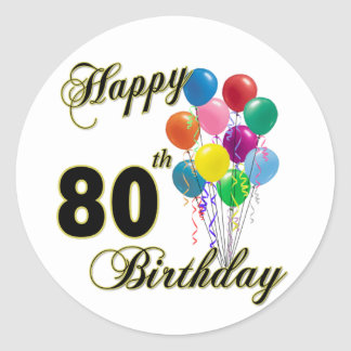 Happy 80th Birthday Gifts and Birthday Apparel Classic Round Sticker