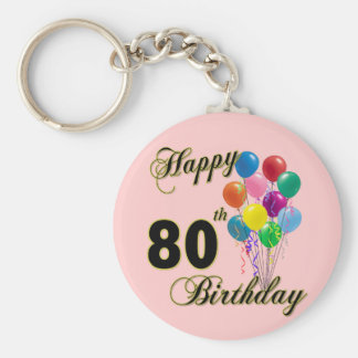 Happy 80th Birthday Gifts and Birthday Apparel Keychain