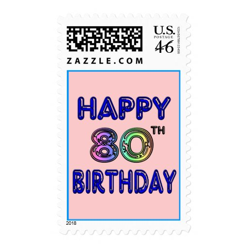 Happy 80th Birthday Gifts and Birthday Apparel Stamp
