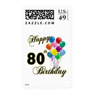 Happy 80th Birthday Gifts and Birthday Apparel Postage Stamps