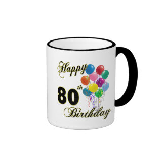 Happy 80th Birthday Gifts and Birthday Apparel Ringer Mug