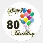 Happy 80th Birthday Gifts and Birthday Apparel Round Sticker