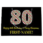 [ Thumbnail: Happy 80th Birthday & Merry Christmas, Custom Name Gift Bag ]