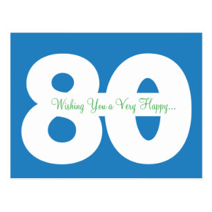 Happy 80th birthday cards greeting photo cards zazzle happy 80th birthday milestone postcards in blue m4hsunfo