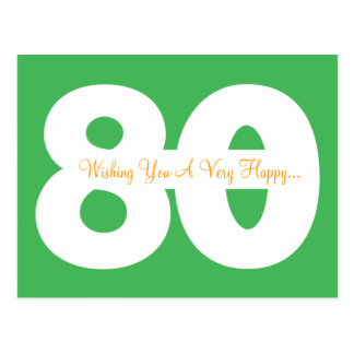 Happy 80th Birthday Milestone Postcards - in Green