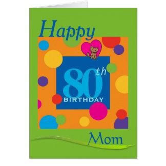 Happy 80th Birthday Mom Card Greeting Card