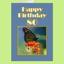 Happy 80th Birthday Monarch Butterfly Card