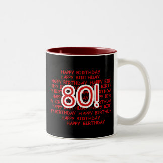 Happy 80th Birthday Two-Tone Coffee Mug