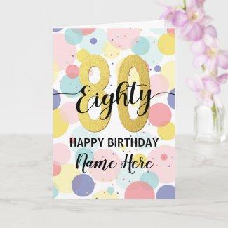 Happy 80th Birthday Pastel Rainbow Gold Woman Card