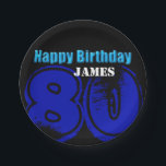 """Happy 80th Birthday Personalized Paper Plates<br><div class=""""desc"""">Customizable Birthday paper plates.</div>"""