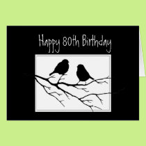 Happy  80th, Eightieth, Birthday Two Birds Card